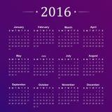 Calendar for 2016 on purple background. Vector. Illustration Stock Images