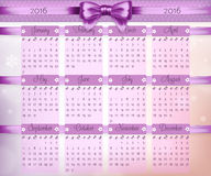 Calendar with purple christmas bow and ribbon on 2016 vector Stock Images