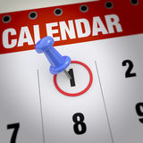 Calendar and pushpin. Calendar and blue pushpin. Mark on the calendar at 1 Royalty Free Stock Photo