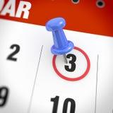 Calendar and pushpin Stock Photography