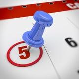 Calendar and pushpin Stock Images
