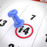Calendar and pushpin. Calendar and blue pushpin. Mark on the calendar at 14 royalty free illustration