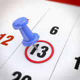 Calendar and pushpin Royalty Free Stock Photo
