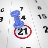 Calendar and pushpin. Calendar and blue pushpin. Mark on the calendar at 21 Royalty Free Stock Photography