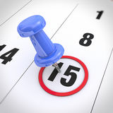 Calendar and pushpin Stock Images