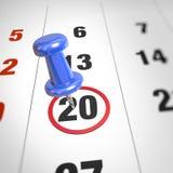 Calendar and pushpin. Calendar and blue pushpin. Mark on the calendar at 20 Royalty Free Stock Image