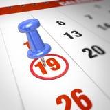 Calendar and pushpin Stock Photo