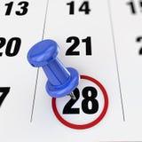 Calendar and pushpin Stock Image