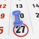 Calendar and pushpin Royalty Free Stock Photo