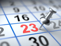 Calendar and pushpin. Mark on the calendar at 23 Royalty Free Stock Photography