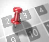 Calendar and pushpin Royalty Free Stock Images