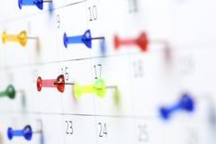 calendar pushpins Стоковое фото RF