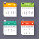 Calendar Quarter Month Set. Vector Royalty Free Stock Photos