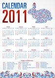 Calendar with rabbit. 2011 USA Stock Images