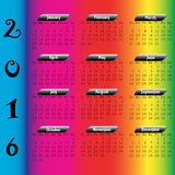 2016 Calendar. On a rainbow background Royalty Free Stock Photos