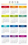 2018 Calendar in Rainbow Colors 3 Columns - English Stock Photography