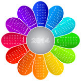 Calendar for 2014. 2014 calendar on rainbow flower background royalty free illustration