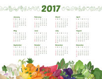 Calendar 2017. Rainbow of fresh vegetables, healthy eating and food calendar 2017 Stock Photo