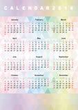 Calendar 2016 rainbow polygonal background. Calendar 2016 (week starts on Sunday Royalty Free Stock Images
