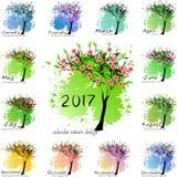 Calendar rastret för 2017 år med det abstrakta trädet royaltyfri illustrationer