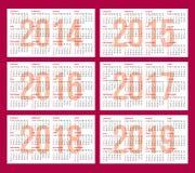Calendar rastret för 2014, 2015, 2016, 2017, 2018, 2019 Arkivfoton