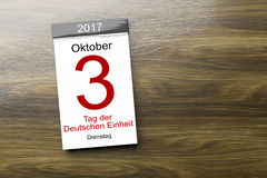A calendar the 3rd of October Day of German unity text in german. 3d rendering of a calendar the 3rd of October Day of German unity text in german language Stock Photography
