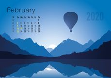2020 calendar ready to print in american version, showing sunsets on landscapes overflighted by balloons. 2020 calendar ready to print in american version royalty free illustration