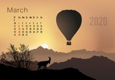 2020 calendar ready to print in american version, showing sunsets on landscapes overflighted by balloons. 2020 calendar ready to print in american version stock illustration