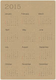 Calendar 2015 on recycled paper texture,. Illustration royalty free illustration