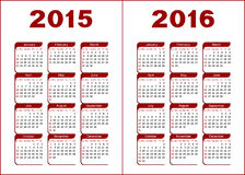 Calendar 2015, 2016. Calendar for 2015, 2016. Red and black letters and figures on a white background stock illustration