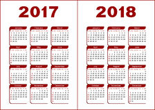 Calendar 2017, 2018 Royalty Free Stock Photography
