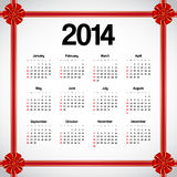 Calendar 2014. With red bows vector illustration