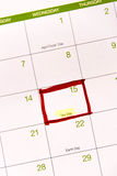 Calendar with a red box around April 15th Stock Image