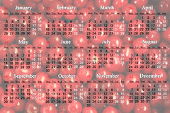 Calendar for 2015 on the red cherry background. Office calendar for 2015 year on the red cerry background in English Stock Image