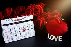 Calendar with red hand written heart highlight on February 14 of Saint Valentines day royalty free stock photography