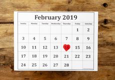 Calendar with red heart on Saint Valentines day on the 14th of february of 2019 in love celebration royalty free stock images