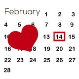 Calendar with red heart. Valentine`s day. February 14. Vector.  stock illustration