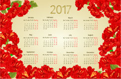 Calendar 2017 with red hibiscus flowers vintage vector Stock Photo