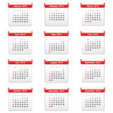 Calendar 2015. With red labels Royalty Free Stock Images