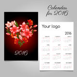 Calendar with red lilies bouquet in heart shape Royalty Free Stock Photo