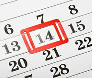 Calendar with red mark on 14 February Stock Photo