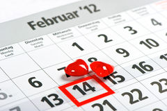 Calendar with red mark on 14 February and red hear Royalty Free Stock Images