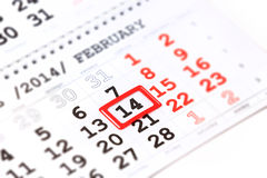 Calendar with red mark on 14 February. Valentine's day Royalty Free Stock Photography