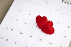 Valentine's day February 14. Calendar with red mark on 14 February 2019. Valentine's day concept Stock Photography