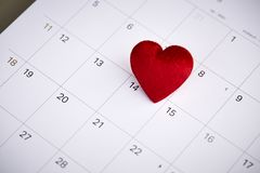 Valentine's day February 14. Calendar with red mark on 14 February 2019. Valentine's day concept Royalty Free Stock Images