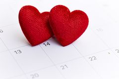 Valentine's day February 14. Calendar with red mark on 14 February 2019. Valentine's day concept Royalty Free Stock Photos