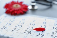 Calendar with red petal on table. Gynecological care. Calendar with red flower petal on table. Gynecological care stock photo
