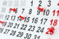 Calendar with red pins. 3d closeup render of the calendar with red pins. Soft focus Stock Illustration