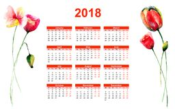 2018 calendar with Red Poppy flowers. Watercolor illustration Royalty Free Stock Image