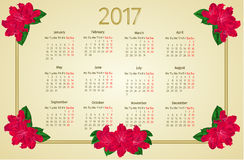 Calendar 2017 with red rhododendron flowers vintage vector. Illustration Stock Photo
